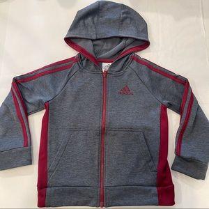 Adidas gray hooded jacket size 5